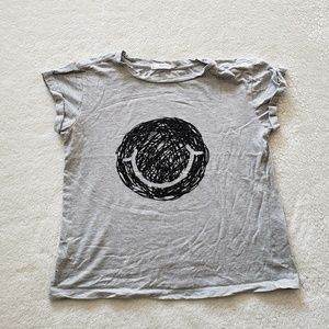 Mango Gray and Black Smiley Face Graphic Tee